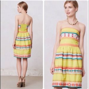 Yellow Strapless Dress by Anthropologie